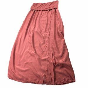 ARBOR Pink Foldover Maxi Skirt Rayon Med Boho
